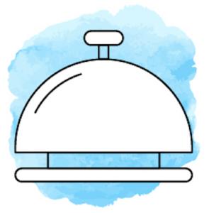 Illustration von Glocke vor hellblauem Hintergrund