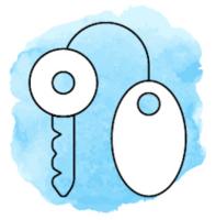 Illustration mit einem Schlüssel mit Anhänger vor hellblauem Hintergrund.