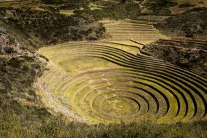 Ruine des Terrassenfeldbaus Moray in der Nähe von Cusco in Peru