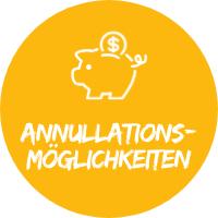 """Illustration mit Sparschwein vor gelbem Hintergrund mit Text """"Annullationsmöglichkeiten"""", einem Simtis Service für Reisen."""