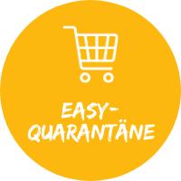 """Illustration mit Einkaufswagen vor gelbem Hintergrund mit Text """"Easy-Quarantäne"""", einem Simtis Service für Reisen."""
