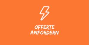 """Illustration mit weissem Blitz auf orangenem Hintergrund mit Text """"Offerte anfordern""""."""