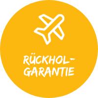 """Illustration mit Flugzeug vor gelbem Hintergrund mit Text """"Rückhol-Garantie, einem Simtis Service für Reisen."""
