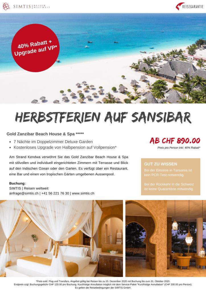 Angebots-Flyer für Herbstferien auf Sansibar von SIMTIS Reisen