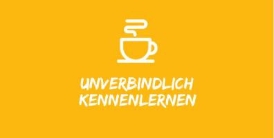 """Illustration mit weisser Kaffeetasse auf gelbem Hintergrund mit Text """"unverbindlich kennenlernen""""."""