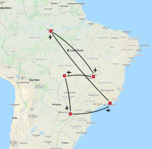 Karte mit Reiseroute in Brasilien
