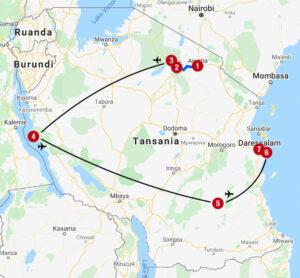 Karte mit Reiseroute in Tansania und Sansibar