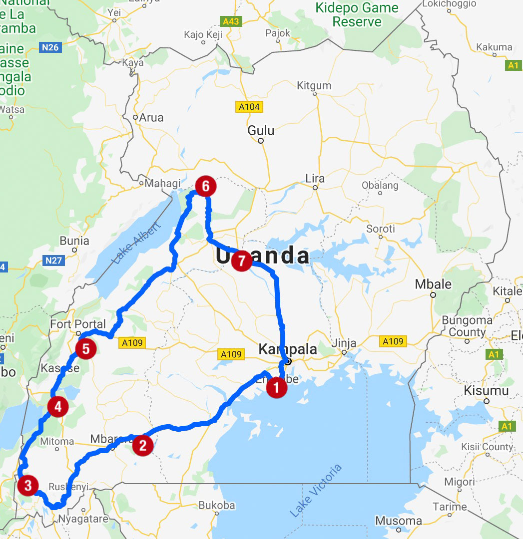 Karte mit Reiseroute in Uganda