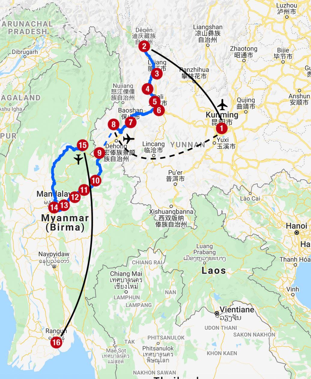 Karte mit Reiseroute in Yunnan und Myanmar