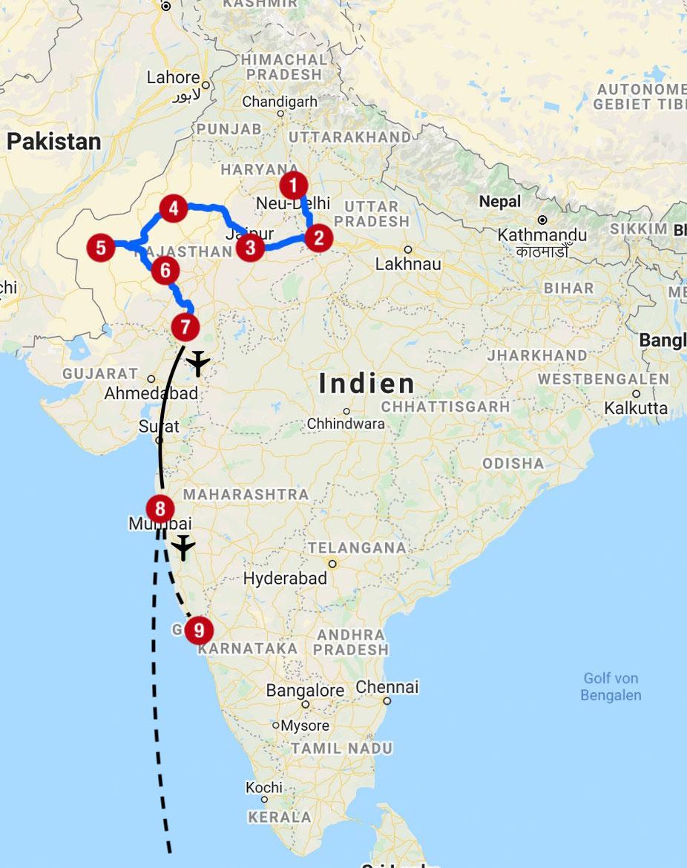 Karte mit Reiseroute in Indien