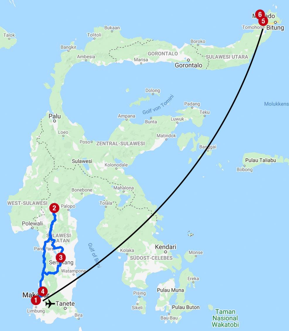 Karte mit Reiseroute auf Sulawesi