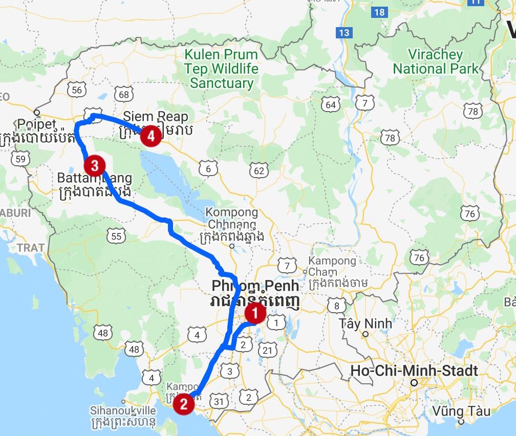 Karte mit Reiseroute in Kambodscha