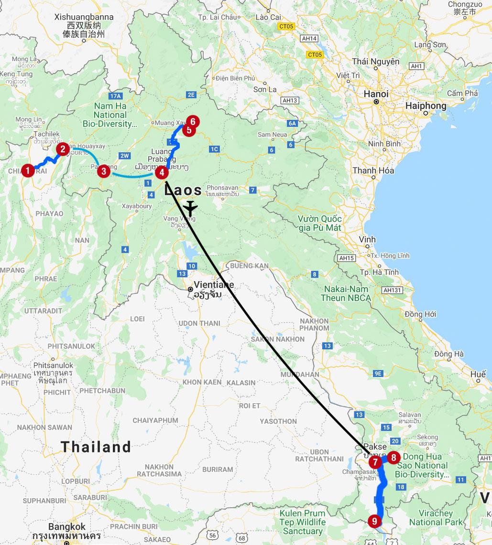 Karte mit Reiseroute in Laos