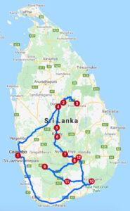 Karte mit Reiseroute in Sri Lanka