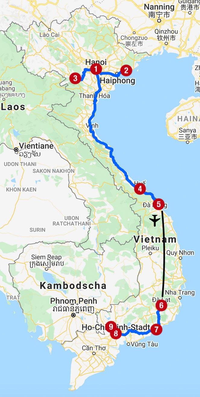 Karte mit Reiseroute in Vietnam