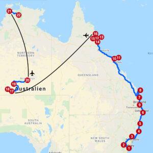 Karte mit Reiseroute in Ost- und Zentralaustralien