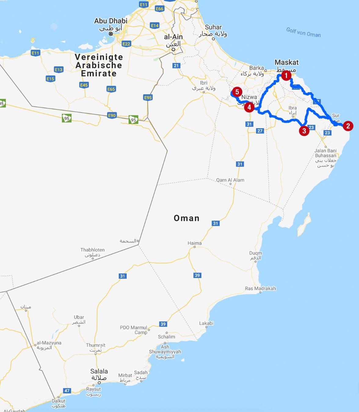 Karte mit Reiseroute im Oman