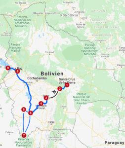 Karte mit Reiseroute in Bolivien