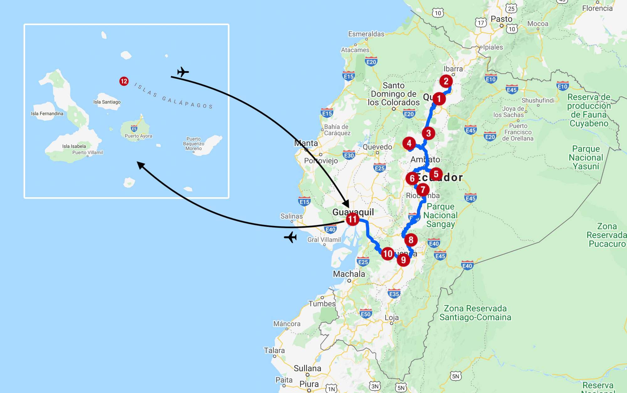 Karte mit Reiseroute in Ecuador mit Galapagos-Inseln