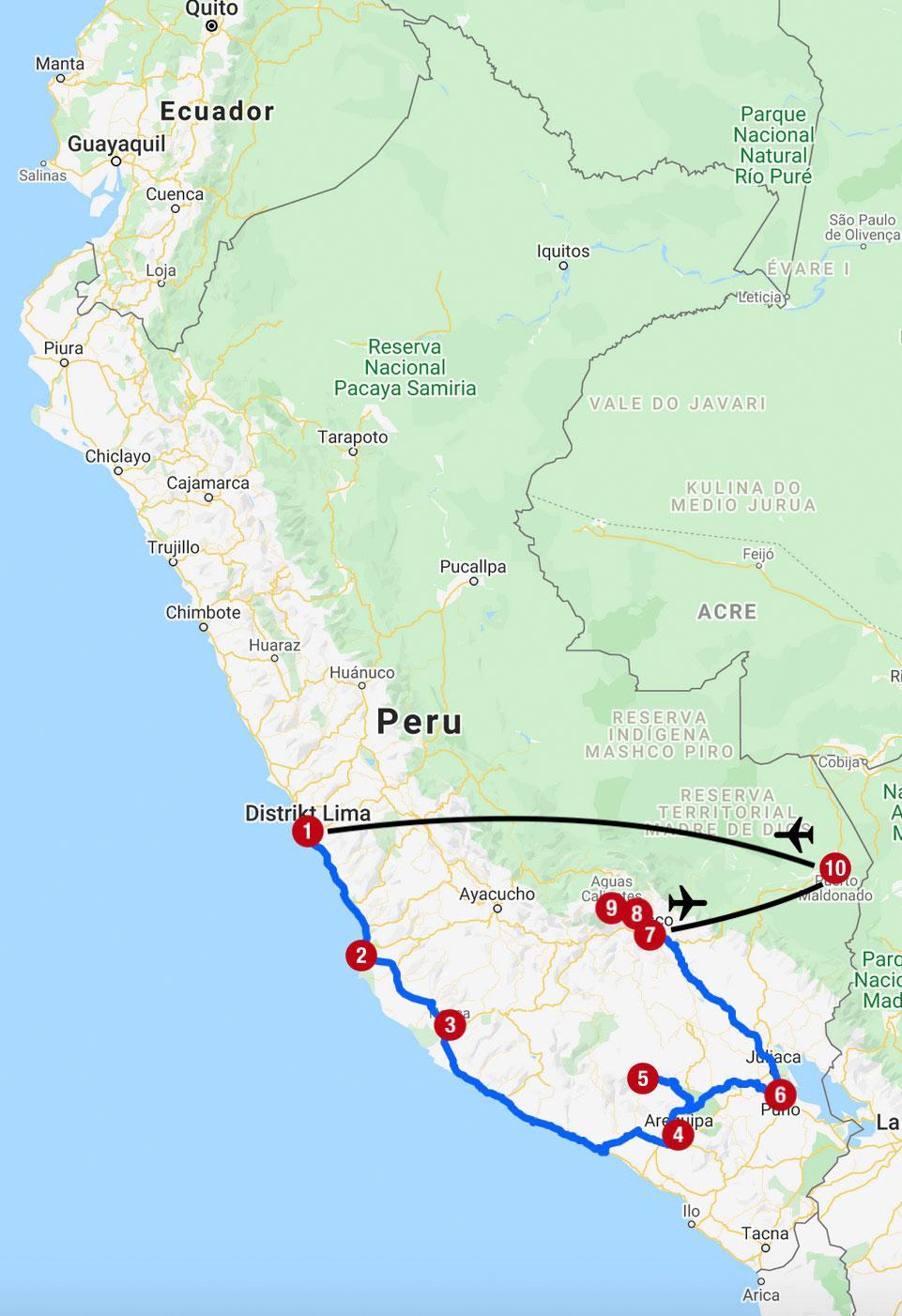 Karte mit Reiseroute in Peru