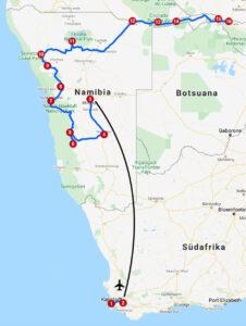 Karte mit Reiseroute in Südafrika, Namibia und Botswana