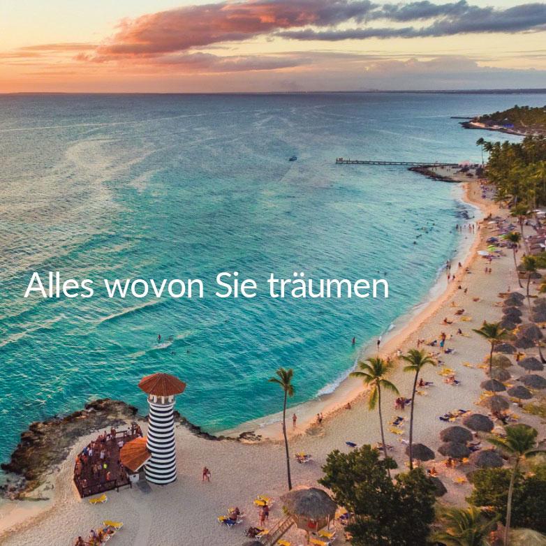 Bild von Strand mit Palmen und Leuchtturm und Text Kurztrips