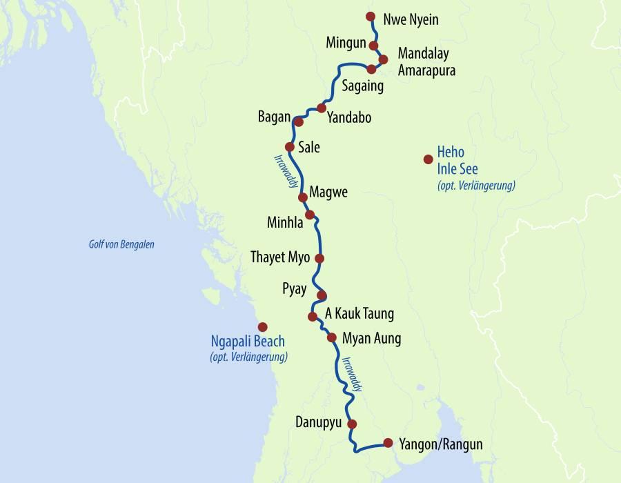 Karte mit Reiseroute Flusskreuzfahrt Myanmar