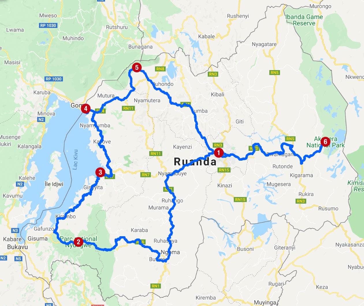 Karte mit Reiseroute in Ruanda