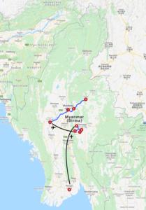 Karte mit Reiseroute Myanmar