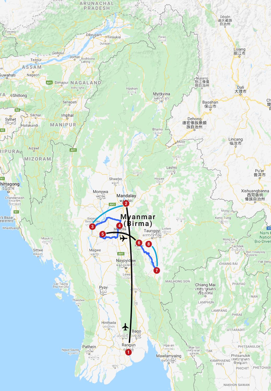 Karte mit Reiseroute in Myanmar