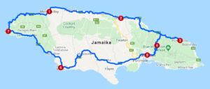 Karte mit Reiseroute auf Jamaika