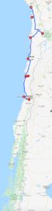 Karte mit Reiseroute im Norden von Chile