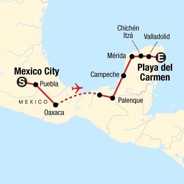 Karte mit Reiseroute in Mexiko