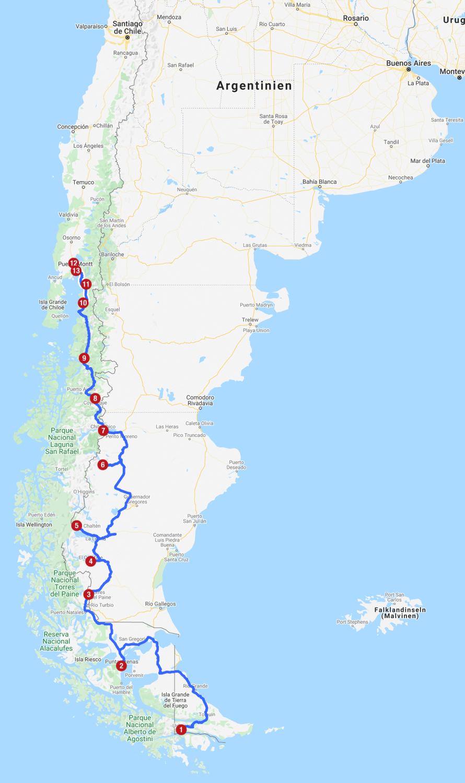Karte mit Reiseroute Patagonien